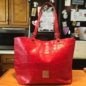 D&B Red Croc Design Leather East West Tote